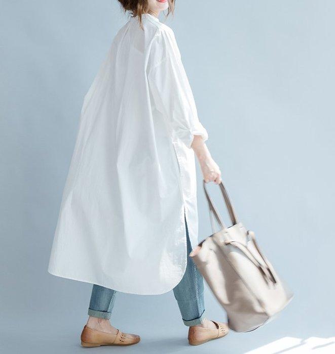 SeyeS   雜誌款自然風慵懶四季白色長板襯衫洋裝
