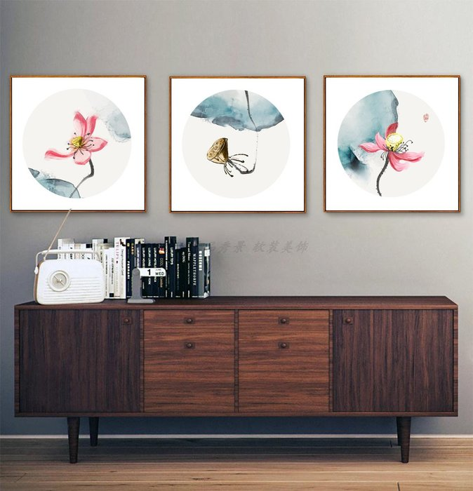 新中式禪意荷花花卉裝飾畫畫芯微噴繪打印畫芯掛畫壁畫(3款可選)