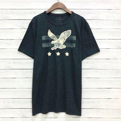 Maple麋鹿小舖 American Eagle * AE 男生深灰色貼布LOGO短T * ( 現貨L號 )