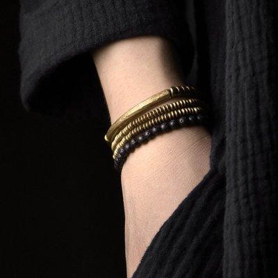 CHIC U 手作飾品原創復古多層銅手鏈項鏈套裝女個性歐美火山石手串男潮情侶