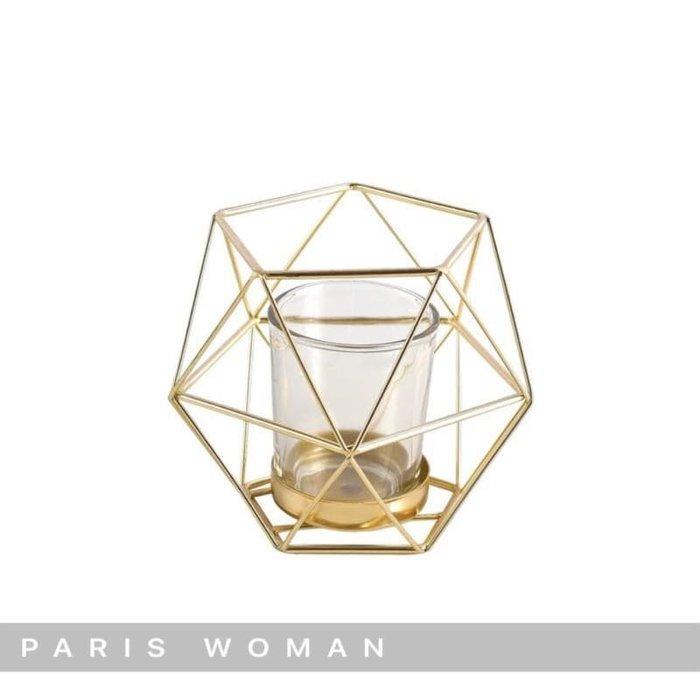 .PARIS WOMAN.北歐美式.簡約浪漫擺飾.菱形金色燭台