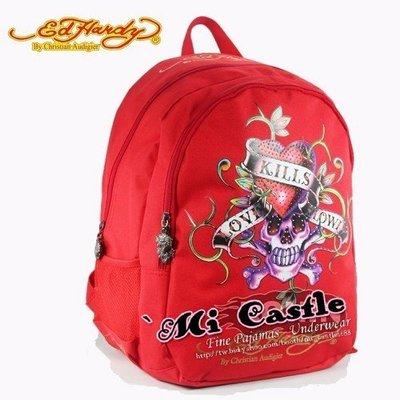 蜜凱絲`mi castle❤100%正品Ed hardy經典骷髏頭愛心大背包後背包書包*燙鑽ED logo內裡!開學3折