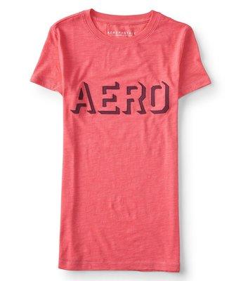 美國Aeropostale女裝Aero Knockout Graphic Tee新穎造型貼布LogoXL涼粉圓領T含運