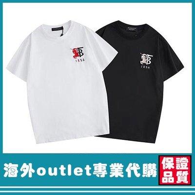 BURBERRY TB徽標對比Logo刺繡 高品質 純棉 圓領 短袖 夏季 T恤 男女同款