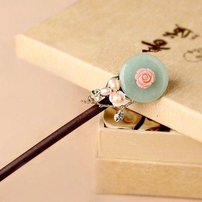 預購「中國風古典貝殼花東菱玉木質髮簪簪子」
