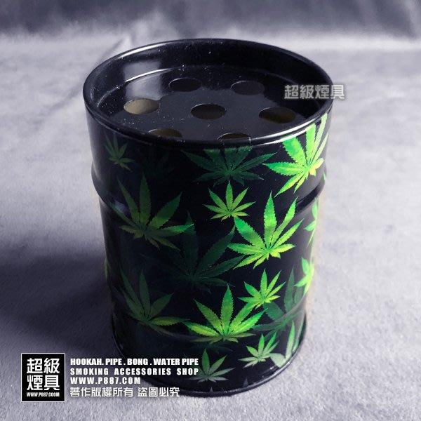 【P887 超級煙具】專業煙具 多款造型煙灰缸系列 煙灰收納罐-小(黑底綠葉)(570032)