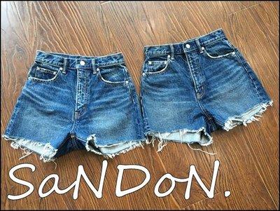 SaNDoN x SLY 夏季史上我愛 基本簡單顯瘦高腰毛鬚丹寧刷色皮標完美牛仔短褲 snidel 韓妮 170608