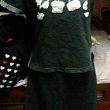 黑灰色鏽花短袖長裙套裝