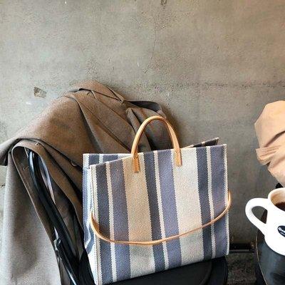 大包包 托特包 女包 包包 百搭 超火包夏天帆布手提包新款韓國東大門時尚彩色條紋托特包