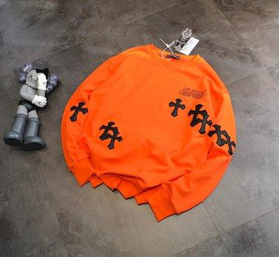 2020 OFF X ch克羅心heart聯名款完美百搭款暴力橙色PU十字花繡T恤