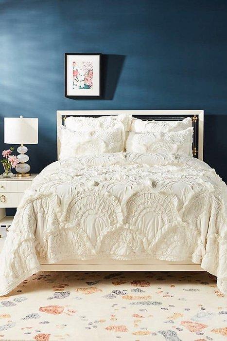 法式餐桌藝術 手工製作 浪漫白色波西米亞風格寢具 被套/枕套2