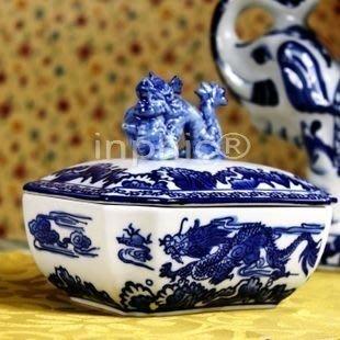 INPHIC-手繪青花陶瓷肥皂盒收納盒 東南亞風中式龍家 居裝飾擺