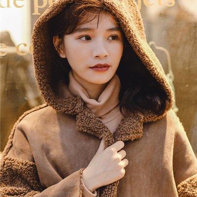 棉衣 羽絨服 麵包服chic羊羔毛機車外套女拼接麂皮絨韓版新款學生中長款連帽大衣
