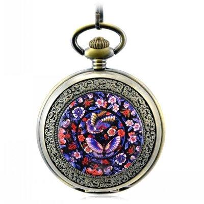 油畫炫彩蝴蝶多圖T 復古機械懷表 老掛表 男女士學生古董禮品手表