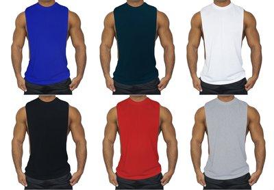 201003 肌肉小子 寬肩版 大開襟 健美 運動 跑步 健身 背心 寛肩 開襟 6色4碼現貨供應 (焦點服飾)