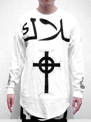 【HYDRA】馬來西亞 Nerd Unit SAINT Side Zipped L/S 長版 金 側拉鍊 刺繡 拼貼 白色 阿拉伯 長T S M L