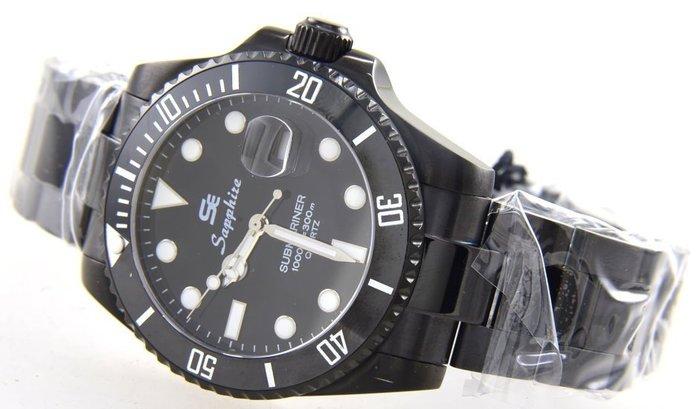 (六四三精品)大錶徑4.0公分黑水鬼王Sapphize(真品)黑色ipg錶殼.藍寶石水晶鏡面.可游泳及浮潛之潛水錶!