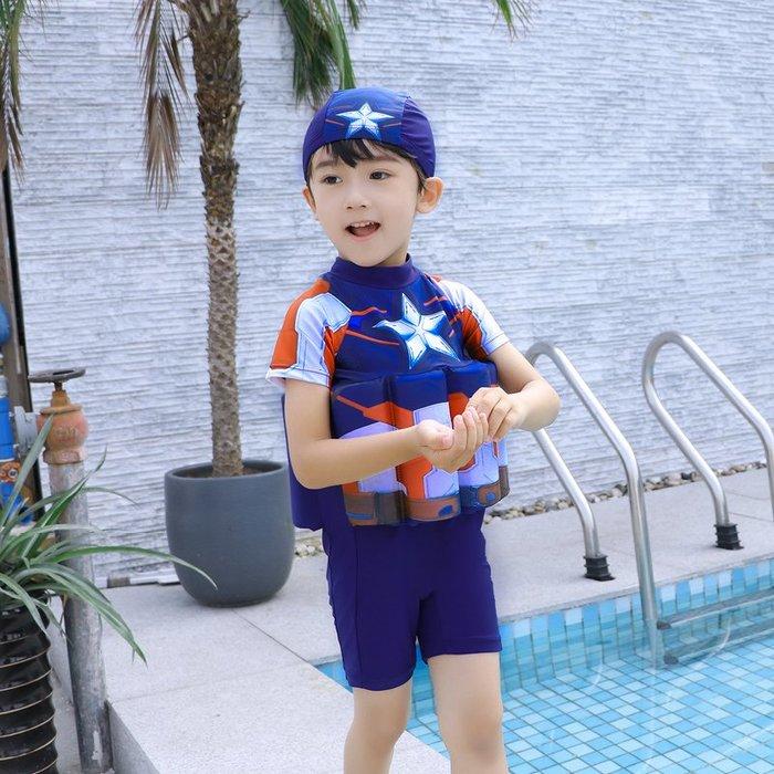 •*~ 辣媽咪衣飾小舖 ~*•❤泳裝系列 📣C550801可愛卡通兒童浮力泳衣(附泳帽)---美國隊長