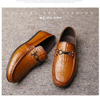 『老兵牛仔』CK-8028一腳蹬真皮豆豆鞋/二層牛皮/時尚/彈力/耐摩/個性