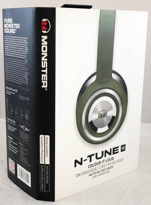 近全新【魔聲 MONSTER N-TUNE】霧面軍綠色耳罩式耳機,只有這一件!免運費!