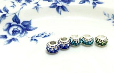 晶御飾品  潘朵拉類似款~銅鍍銀奧地利水晶串珠墜飾穿珠散珠~漸層寶藍