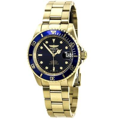 INVICTA 手錶 機械錶 水鬼 40mm 金色金錶 藍面盤 鋼錶帶 男錶女錶 8930OB