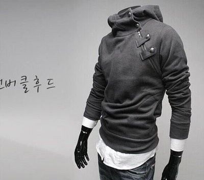 『潮范』  N4 新款男裝韓版兔毛領金屬扣抓絨加厚連帽衛衣 大碼衛衣 棉質連帽外套 夾克