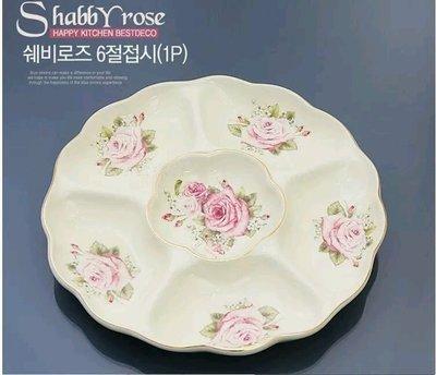 粉紅玫瑰精品屋~韓國進口SHABBY ROSE陶瓷六格果盤~