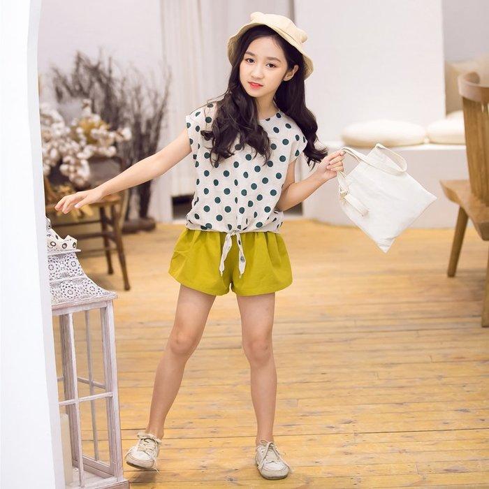 •*~ 辣媽咪衣飾小舖 ~*•❤童裝系列❤K950420韓版大童夏款可愛點點短袖拼接上衣+短褲二件套