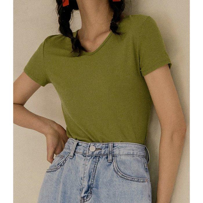 背心吊帶百搭短款純色V領牛油果綠t恤抹茶綠女夏短袖修身針織上衣外穿薄款內搭