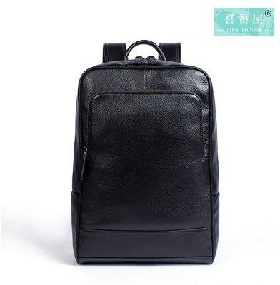 【喜番屋】真皮頭層牛皮男士大容量雙肩包後背包肩背包書包電腦包男包【LB75】