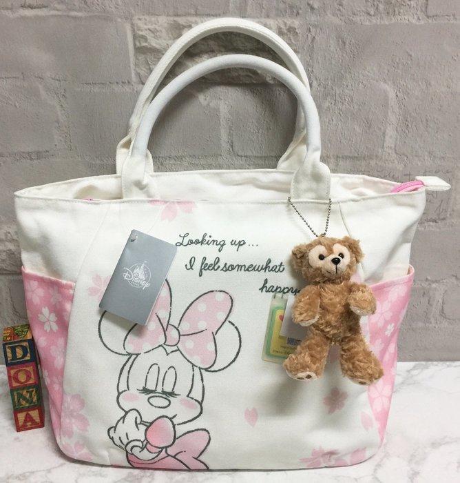 【Dona日貨】日本迪士尼store限定  米老鼠米妮粉嫩色櫻花系列 肩背包/手提包/大方包  F33