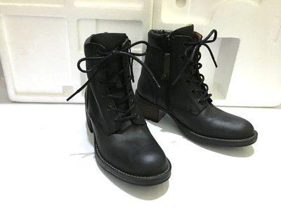 PLDM by palladium 法國 專櫃 黑灰色 仿舊 真皮 粗跟 短靴