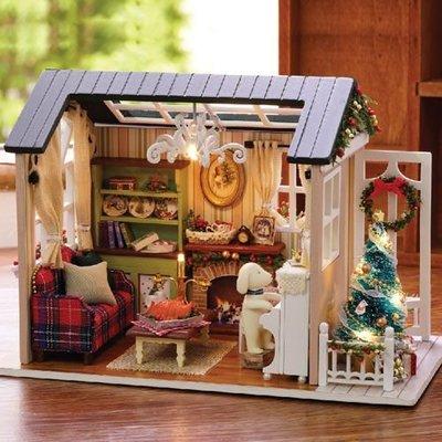 ✤宜家✤手製DIY小屋 手工拼裝房屋模型建築 -假日時光