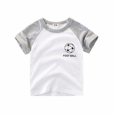 【可愛村】雙色棉感短袖T恤 短袖 足球T恤 棉T 童裝