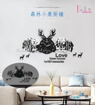 ☆[Hankaro]☆ 創意新風格立體壓克力黑色款森林小鹿掛鐘