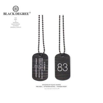 FEI日韓代購~黑度 / Experiment Dog Tag 83號閃電身份方牌吊墜男女情侶長項鍊