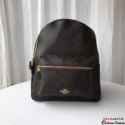 美國大媽代購COACH 寇馳38301 雙肩包 後背包 側背包 咖啡色背包 男女可用 大容量書包   美國代購