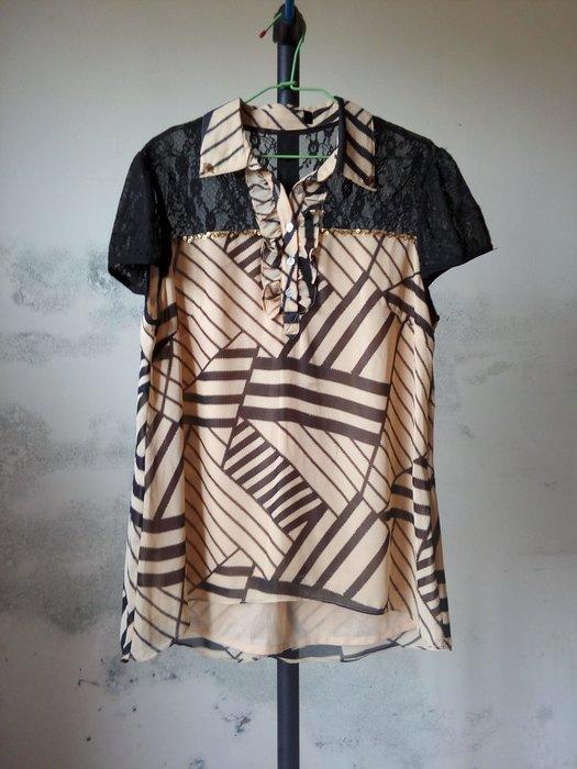 拼接網紗雪紡上衣 (條紋 格紋 荷葉領 幾何圖案 米色 黃色 黑色 雪紡襯衫 大尺碼 大尺吋 XL)