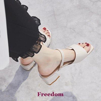 Freedom女鞋潮牌2019夏季新款正韓百搭時尚一鞋兩穿中跟粗跟網紅舒適真皮涼鞋