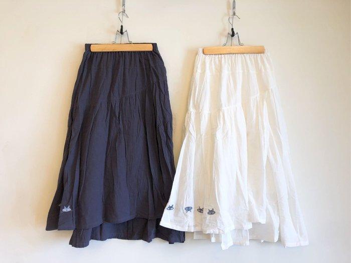 日本卡拉貓~設計風不對稱棉紗裙 中長裙