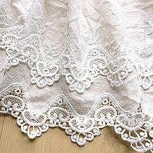 『ღIAsa 愛莎ღ手作雜貨』本白色雙層純棉花邊連衣裙毛衣下擺窗簾家紡DIY裝飾棉布料邊輔料寬25cm