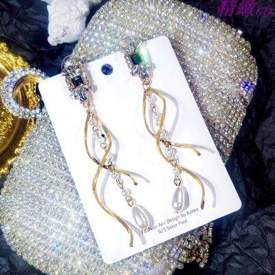 精緻life 925銀針長款珍珠流蘇吊墜耳環顯臉瘦的耳墜女氣質韓國個性耳釘