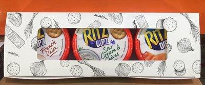美兒小舖COSTCO好市多代購~RITZ 麗滋 鮮奶油乳酪抹醬-煙燻鮭魚.酸奶油香蔥.法式洋蔥(185gx3盒)