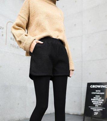 加厚毛呢短褲女韓版外穿鬆緊高腰顯瘦百搭闊腿靴褲