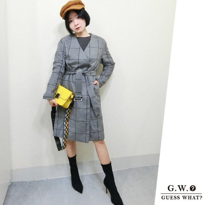 GW 英倫風深灰格紋冬天長版大衣外套 中長款風衣 高腰綁繩 腰帶 F尺寸 GUESSWHAT