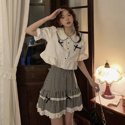 寶島小甜甜~白色蝴蝶結襯衫女設計感小眾夏季2021新款洋氣減齡法式娃娃衫上衣