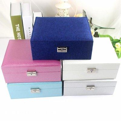 雙層首飾盒公主歐式韓國收納盒手飾品木質帶鎖耳環收納盒結婚禮物   全館免運
