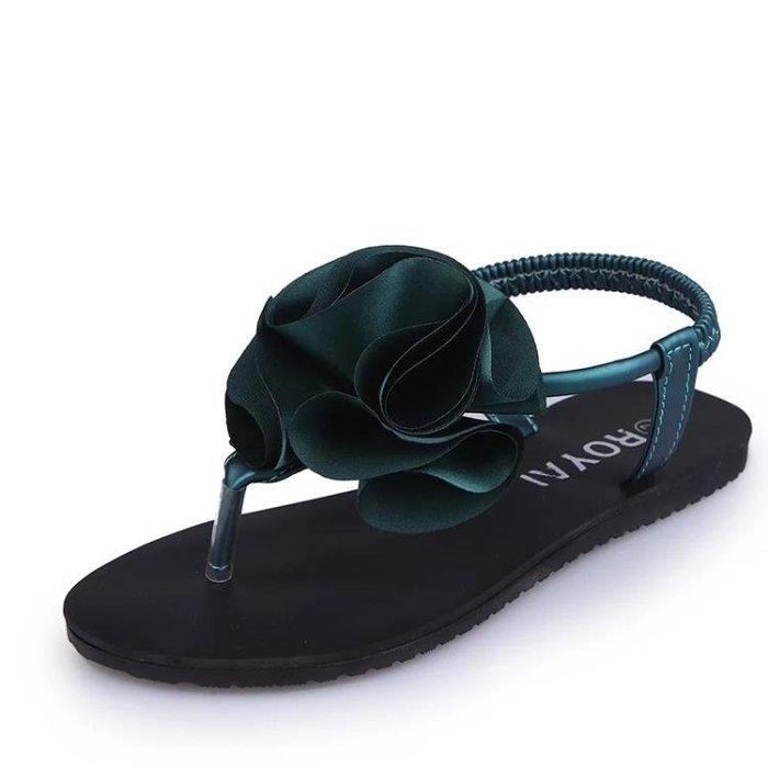 涼鞋 花朵涼鞋女夾腳夾趾平底夏季正韓小清新學生甜美沙灘涼鞋女潮 【創意家居】