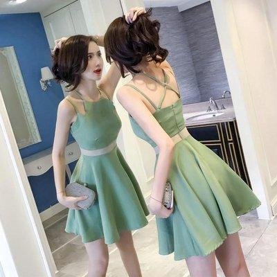 2018新款女裝夏裝顯瘦小個子心機露背流行修身夜店性感吊帶洋裝
